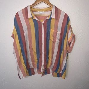 Beach Lunch Lounge Striped Button Down Blouse.